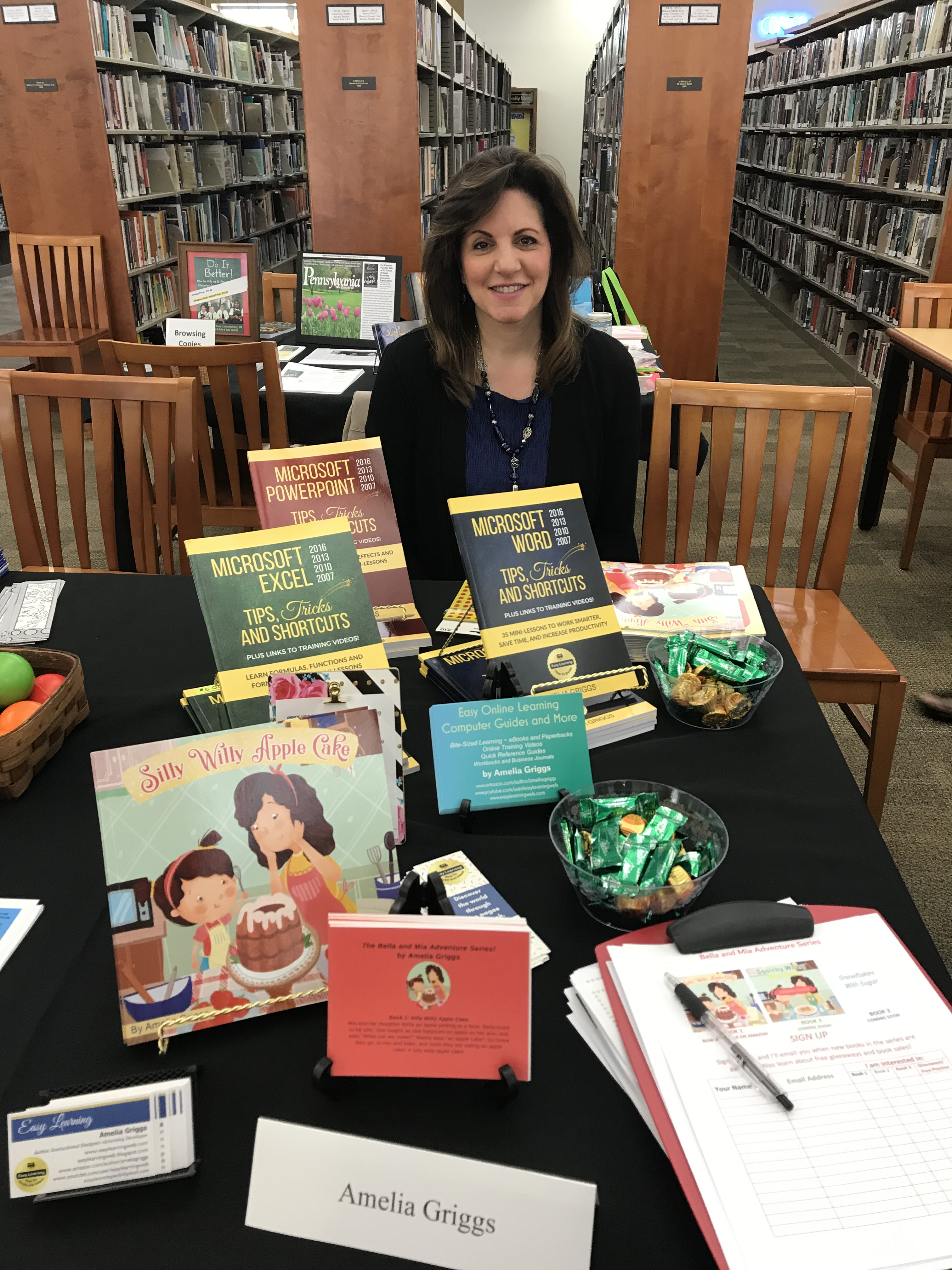 abington library author expo table with books